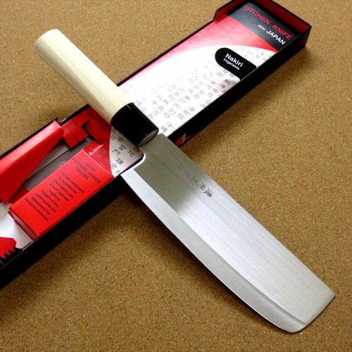 "Japanese Masamune Kitchen Nakiri Knife 160mm 6"" Natural Wood Handle SEKI JAPAN"