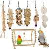 Natural Material 7pc Parrot Bird Toy Combo Pack