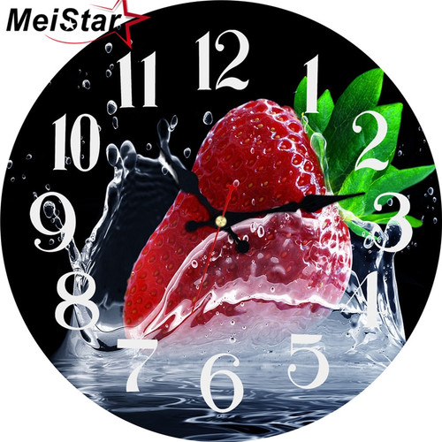 MEISTAR Vintage Round Wall Clock Creative Strawberry Home Decor