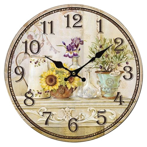Vintage Antique Style 34cm Wall Clock Retro Quartz (Pattern:sunflower)