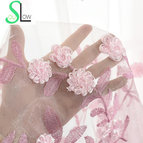 Luxury Embroidered Jacquard Cloth Floral Curtain/Tulle