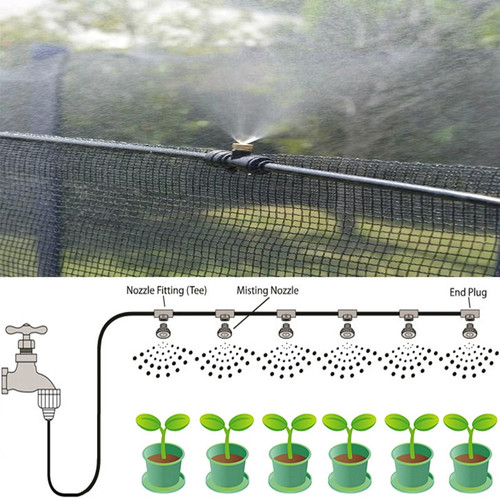 20FT/6M Brass Nozzle Misting System Outdoor Cooling Kit