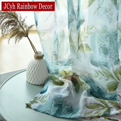 Luxury Floral Linen Tulle Curtains, multiple sizes, 3 colours