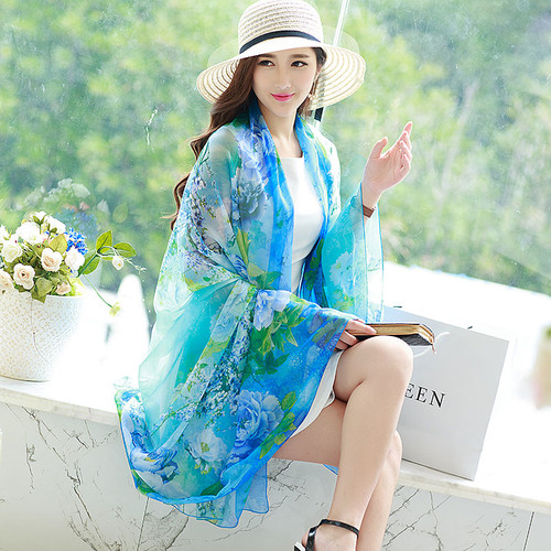 One Size chiffon sun cover wearable shawl/sarong. 4 colors