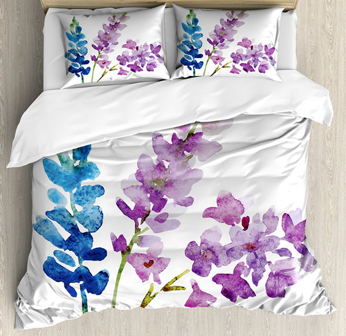 300TC Floral Duvet/Quilt Cover Bedding Set, Lavender and Violet Bouquet, 4 Sizes