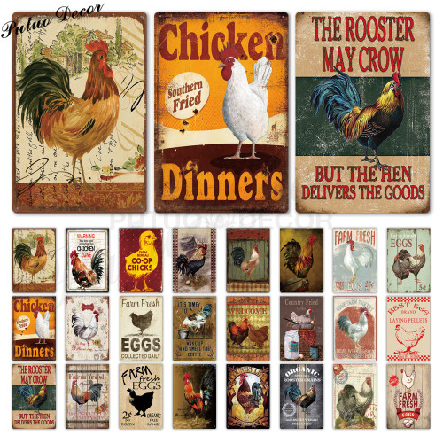 Rooster/chicken farmhouse retro hanging sign wall decor, 24 styles