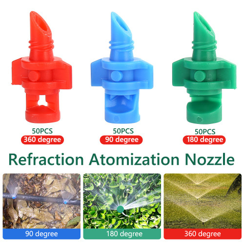 50PCS Garden water sprayer misting nozzles 90/180/360 degree