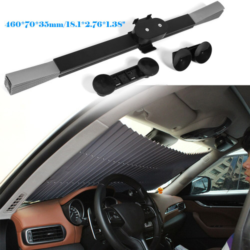 Universal Retractable Car Front/Rear Windshield Sunshade 150x46cm
