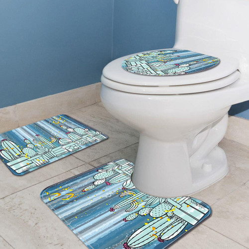 3pcs cactus & home print toilet bathroom mat set. 2 styles