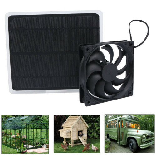 Solar + USB powered Fan for Greenhouse Car Dog Chicken House