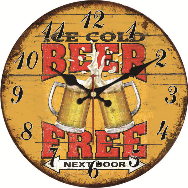 Ice Cold Beer Free Next Door Novelty Vintage Wall Clock, 15/30/34/40cm