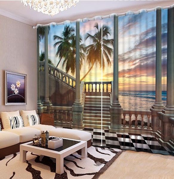 3D realistic block out curtain, stairs sunset sea, bi-parting, multiple sizes