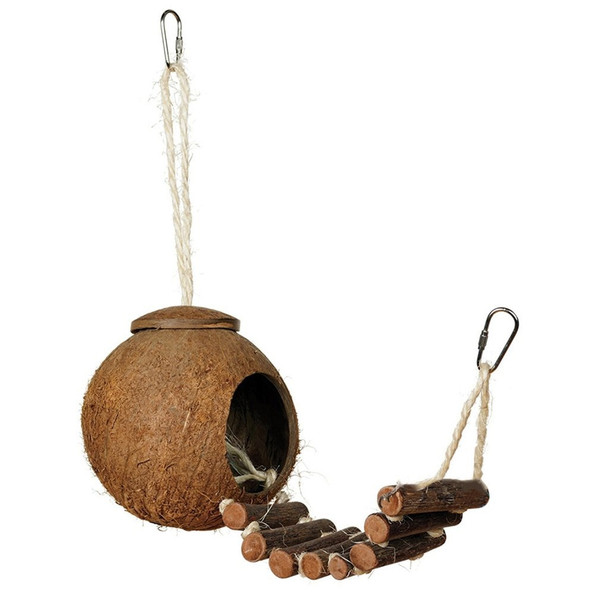 Natural Coconut Shell Small Bird Nesting House with Ladder Toy