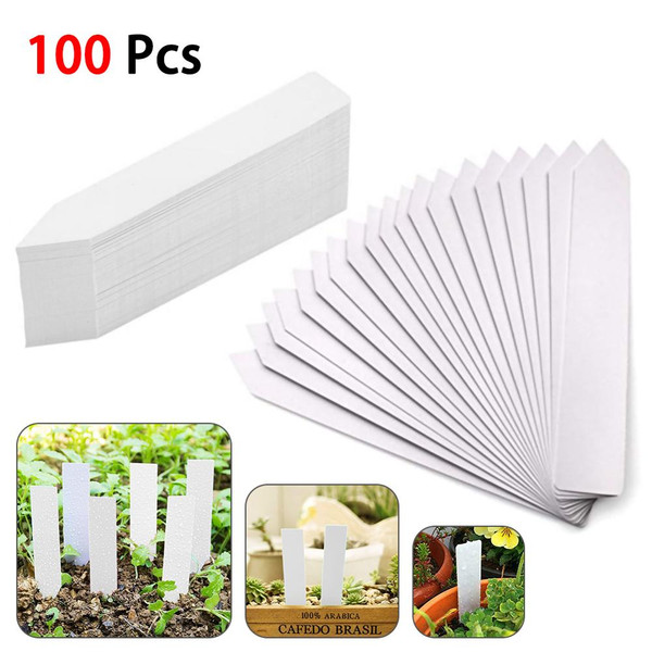 100pcs! Plant markers plastic garden stake tags nursery labels 10 x 2cm