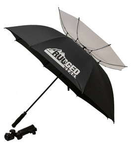 Black and White Wind Resistant Umbrella With Holder