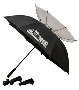 Black and White Wind Resistant Umbrella With Holder and Extension
