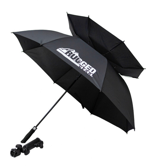 Black Wind Resistant Umbrella With Holder