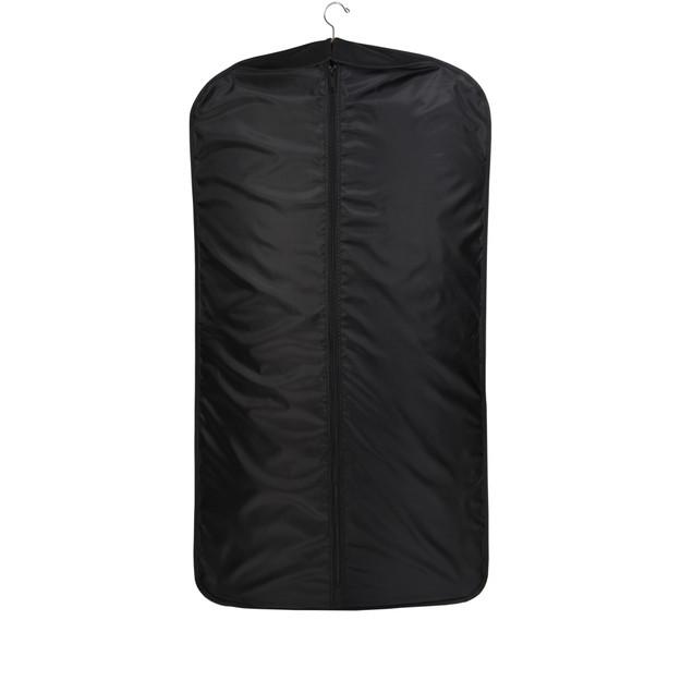 Full length view of black garment bag showing center zipper