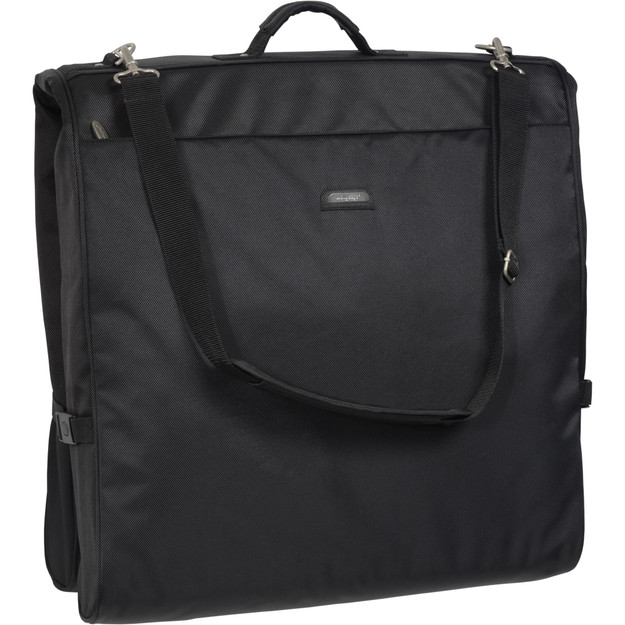 Garment bag folded in half to carry by handles or shoulder strap