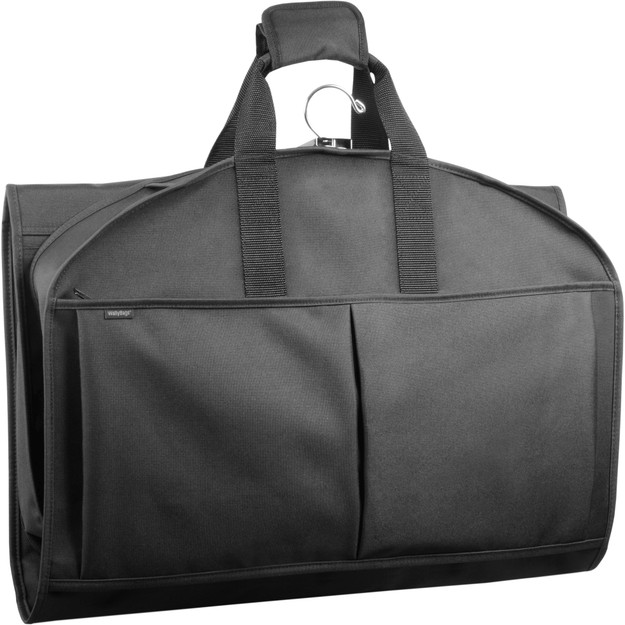 Tri-fold view of garment bag to carry by handles