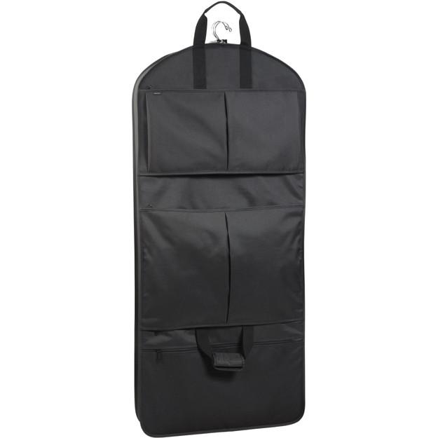 Full length view of black garment bag showing three pockets