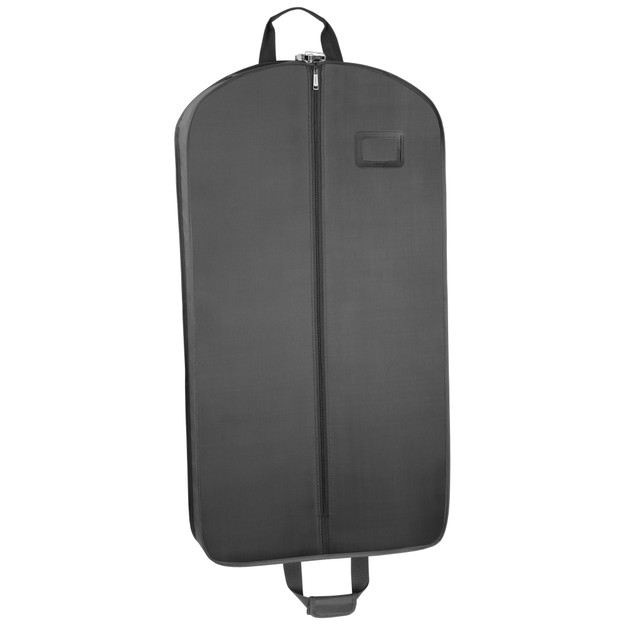 Front side of black garment bag showing full length center zipper and ID window