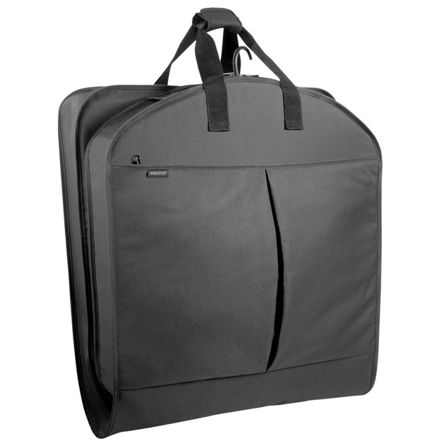 Garment bag folded in half to carry by handles