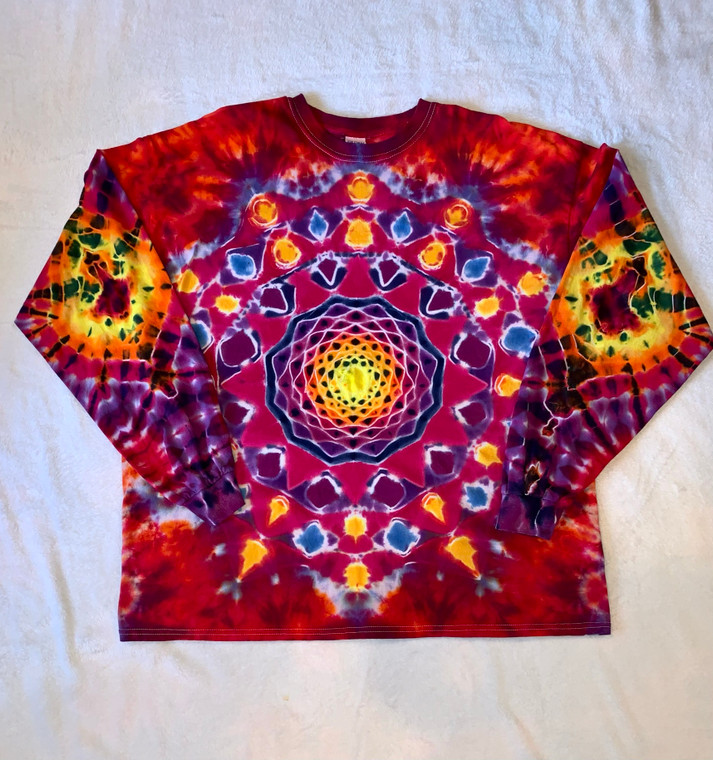 These Dyeing Arts custom tie dye design shirts are hand made and one-of-a-kind. Made by LHO founder Howard Weinstein at the Dyeing Arts Studio in Thousand Oaks, CA  Material: 100% cotton  Unisex  Size: 2XL  Colors: Multi