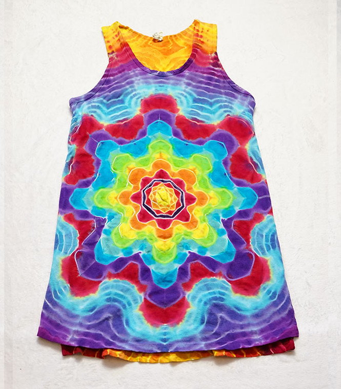 Ladies Tank Dress ron star  mandala rainbow - Medium