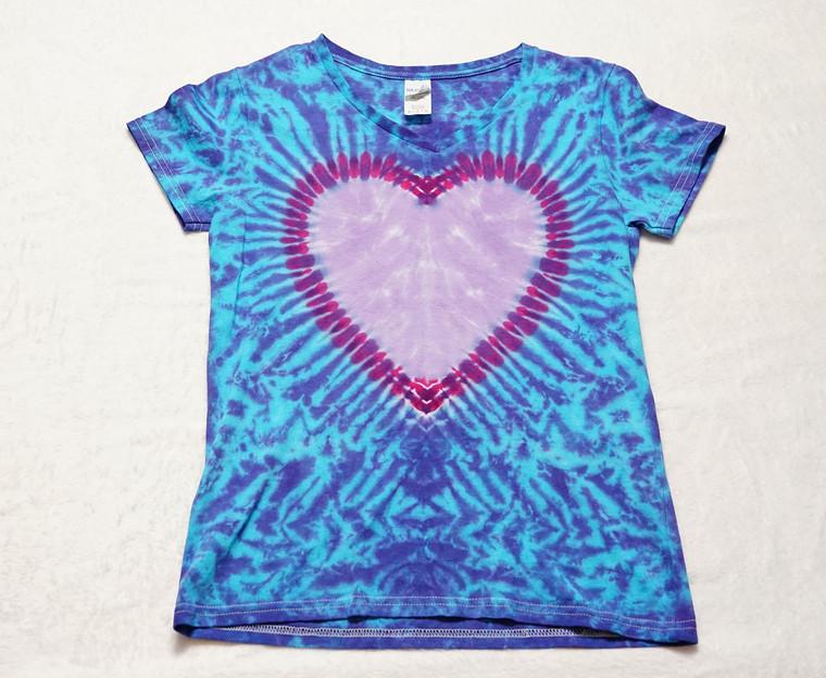 Medium Ladies Heart V neck tie dye