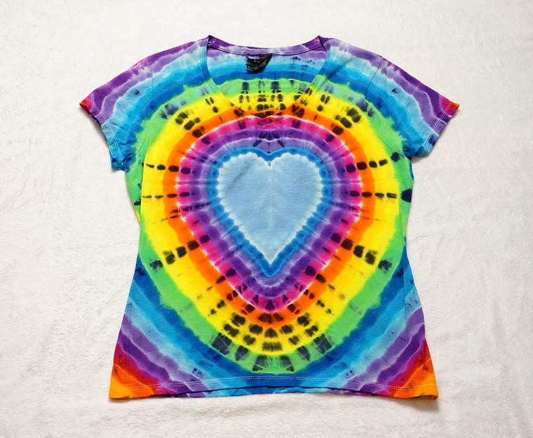 Medium Ladies Nano V rainbow heart tie dye