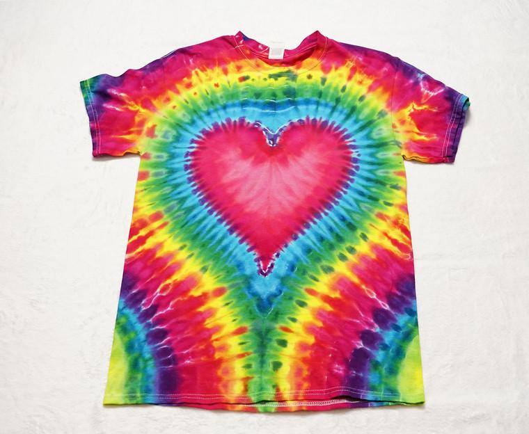 Medium rainbow heart tie dye T