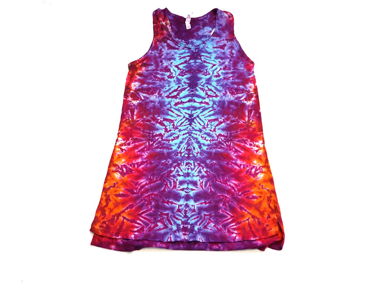 Medium Ladies Tank Dress crinkle blues, purples, reds