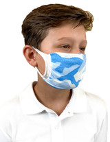 Youth Antimicrobial Unisex Face Mask (2-pack), Blue Camo