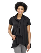 Perfect Protect Short Sleeve Scarf Tee, Black