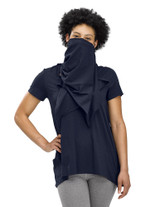 Perfect Protect Short Sleeve Scarf Tee, Dark Navy
