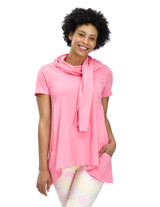 Perfect Protect Short Sleeve Scarf Tee, Pink