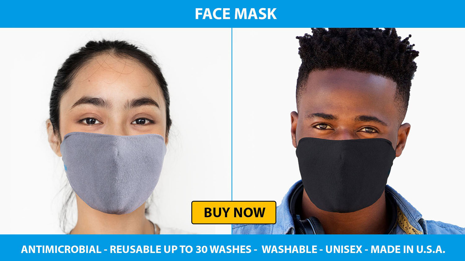 Young man and woman using Ghluv face mask