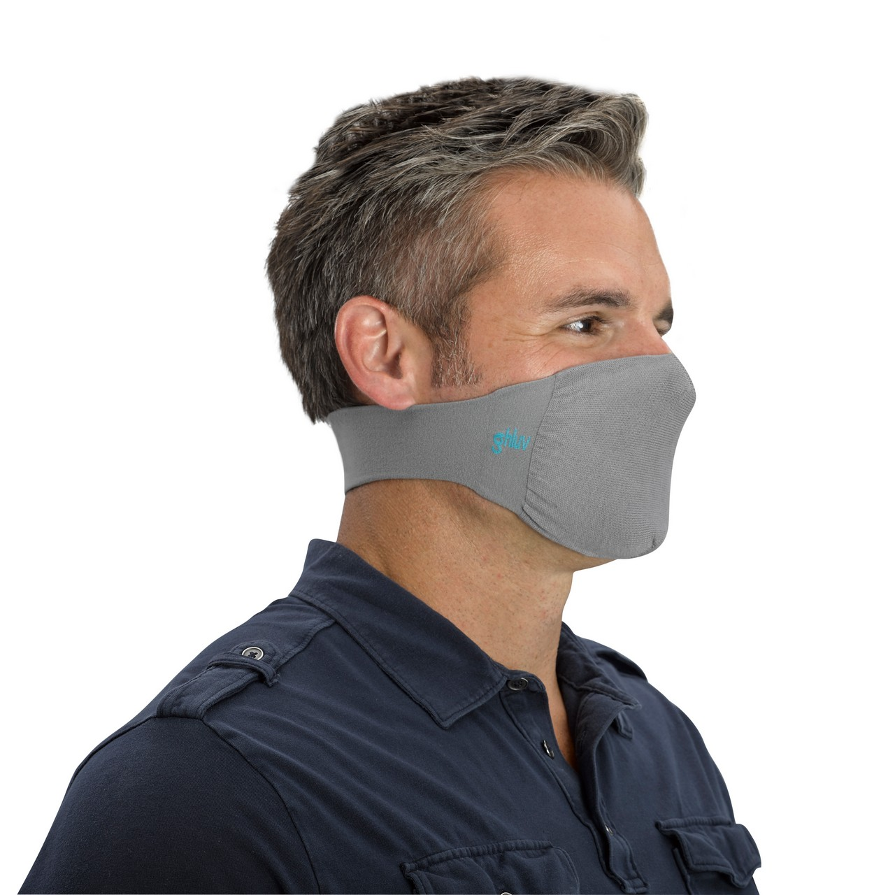 Ghluv Antimicrobial Neck Loop Face Mask (2-pack), Grey