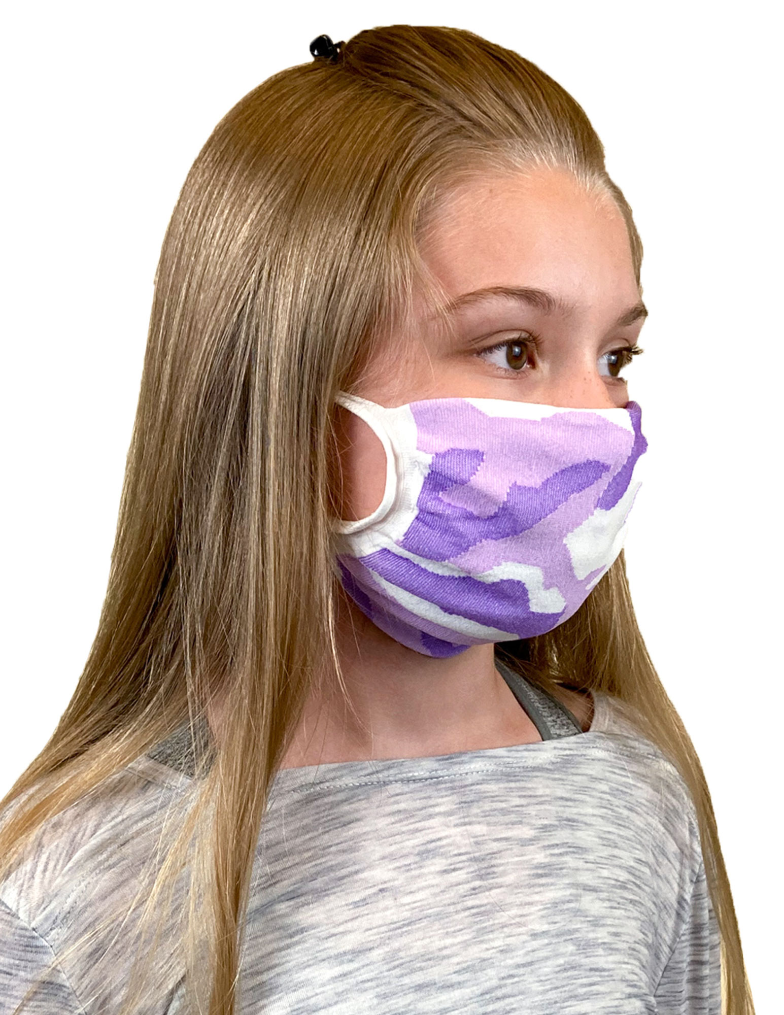 Youth Antimicrobial Unisex Face Mask (2-pack), Purple Camo
