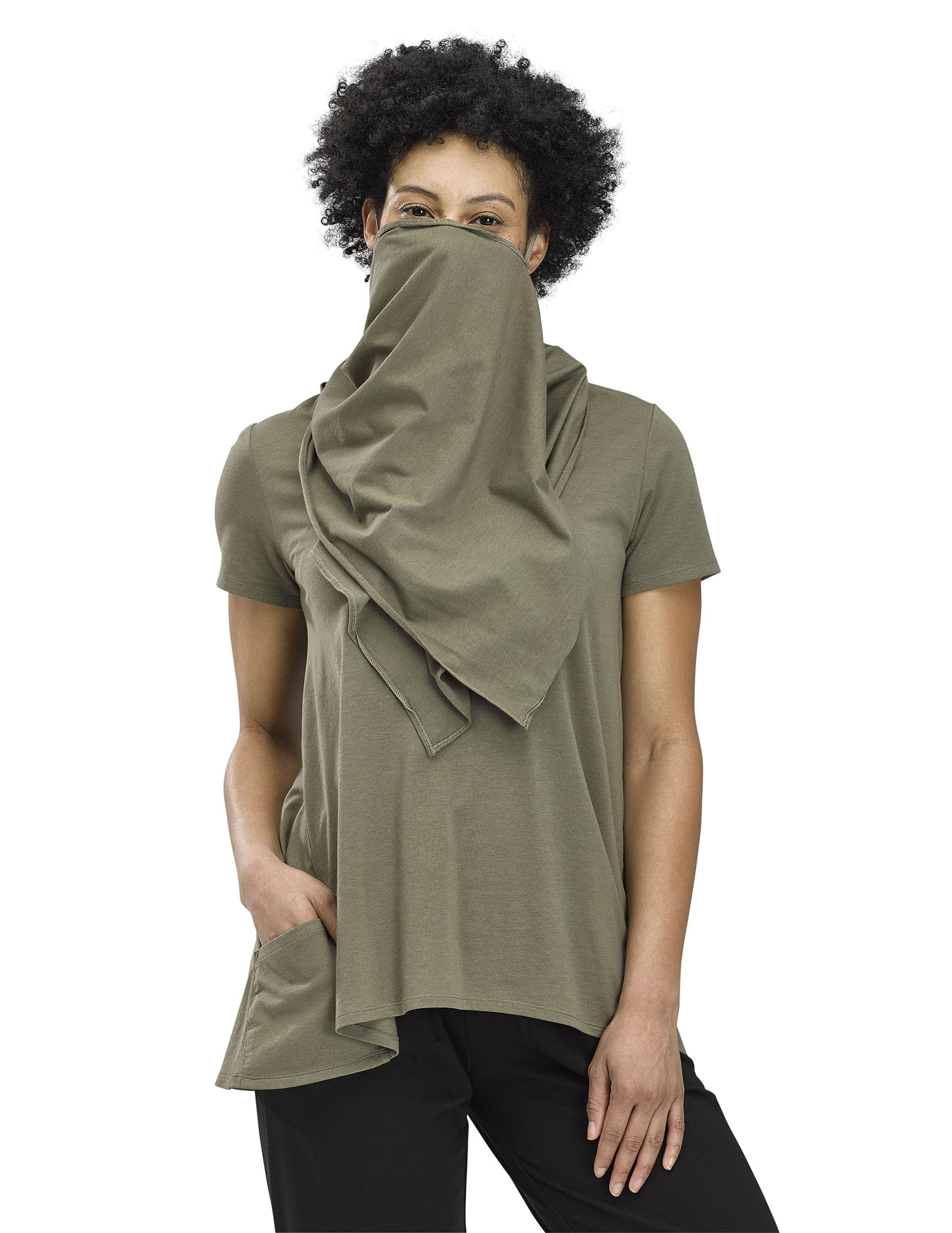 Perfect Protect Short Sleeve Scarf Tee, Olive