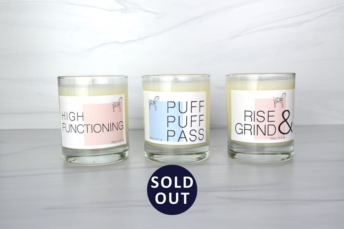 Choose from 6 different labels for our hand-poured candle. Our scented beeswax candle, made exclusively for House of Puff by Joya, comes with Rise and Grind, Puff Puff Pass, High Functioning, Blunt, Chemically Calm, or Puff Off.