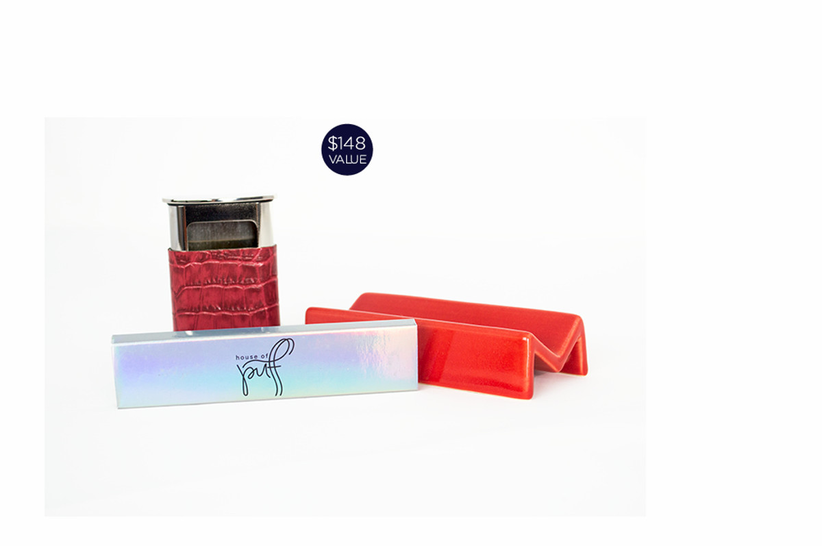 Our pocket ashtray and ceramic rolling tray go ultra posh in coordinating shades of red complete with our hemp rolling papers.