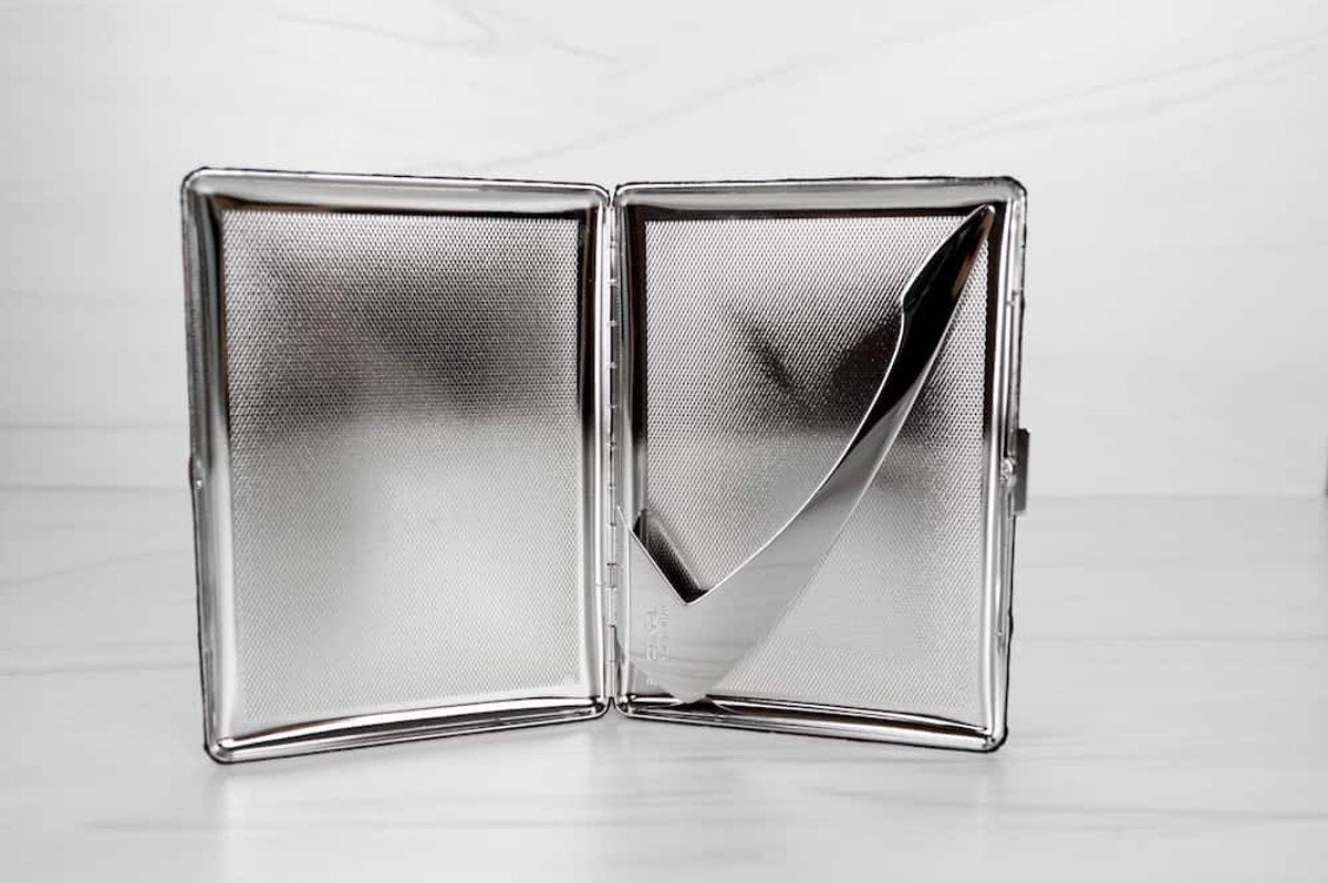 Our leather cigarette case is beautiful enough to double as a mini clutch and the perfect gift for smokers.
