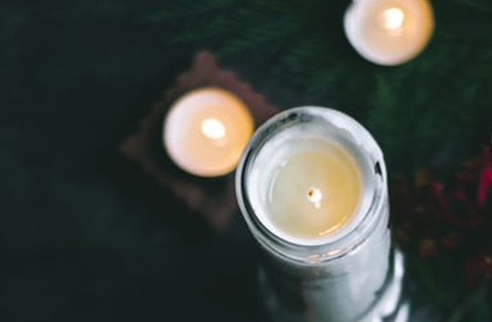 Lit Scented Beeswax Candles