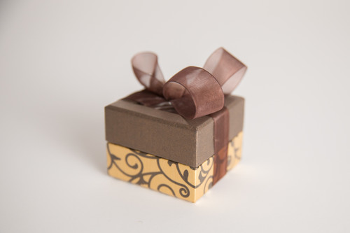 Mini Gold and Chocolate Scroll Box - 2 oz Party Favor