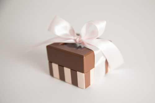 Adorable pink and chocolate striped box with 2 ounces of your choice of Milk Chocolate, Dark Chocolate or White Satin English Toffee. Perfect for a Valentine's Day or baby/wedding shower place setting!