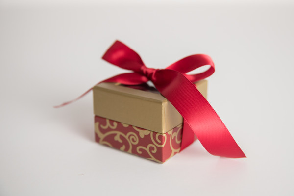 Mini Red Scroll Gift Box - 2 oz Party Favor