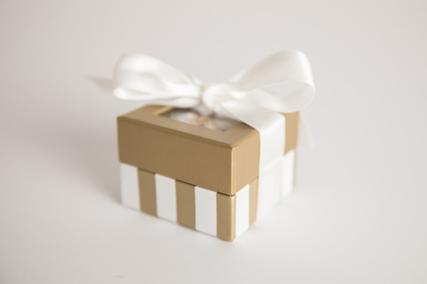 Mini Gold and Ivory Stripe - 2 oz Party Favor