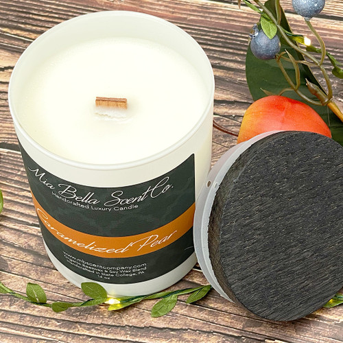 Mia Bella Scent Co Caramelized Pear 14oz Dual Wood Wick Candle